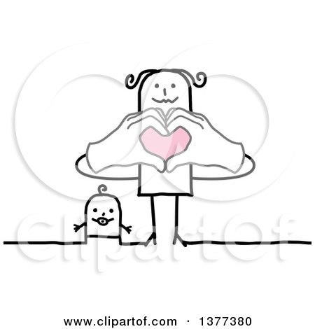 Clipart Of A Stick Mother And Baby Mom Forming A Heart With Her Hands Royalty Free Vector Illustration