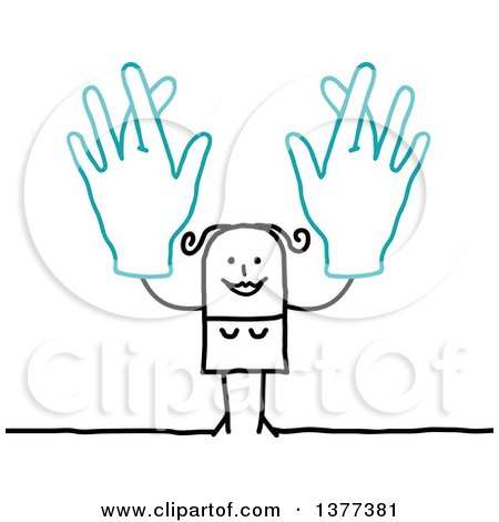Clipart of a Stick Woman Holding up Big Hands with Crossed Fingers - Royalty Free Vector Illustration by NL shop