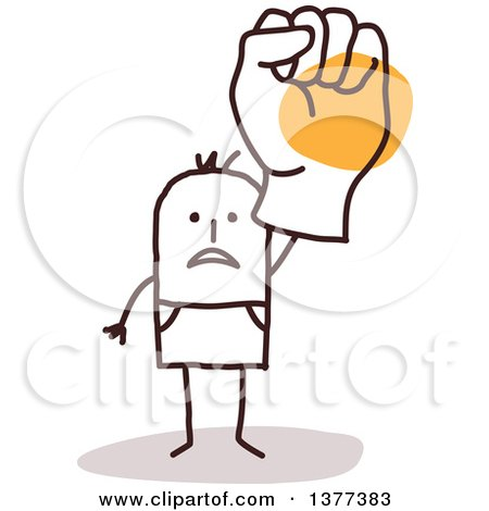 Clipart of a Stick Man Holding up a Big Fisted Hand - Royalty Free Vector Illustration by NL shop