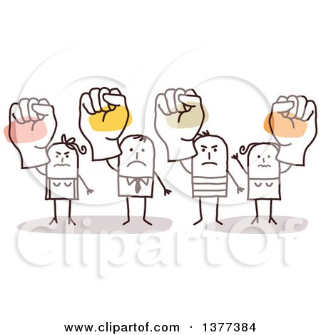 Clipart of Stick Men and Women Holding up Fists - Royalty Free Vector Illustration by NL shop
