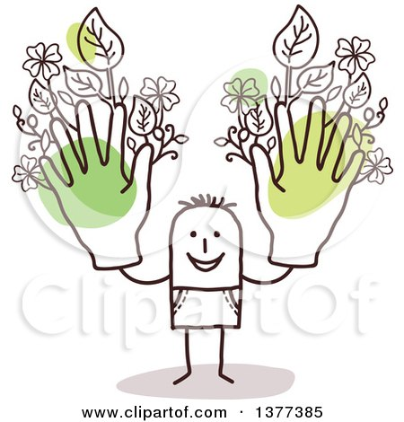 Clipart of a Stick Man Holding up Green Floral Hands - Royalty Free Vector Illustration by NL shop