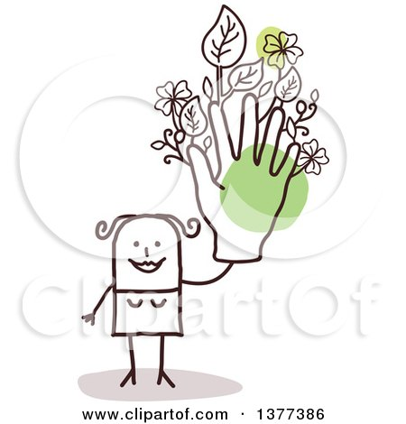 Clipart of a Stick Woman Holding up a Green Floral Hand - Royalty Free Vector Illustration by NL shop