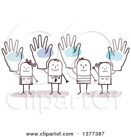 Clipart of Stick Men and Women Holding up Big Hands - Royalty Free Vector Illustration by NL shop