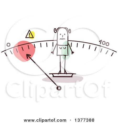 Clipart of a Thin Stick Woman Standing on a Scale - Royalty Free Vector Illustration by NL shop