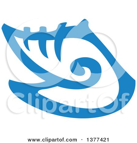 Clipart of a Blue Conch Sea Shell - Royalty Free Vector Illustration by Cherie Reve
