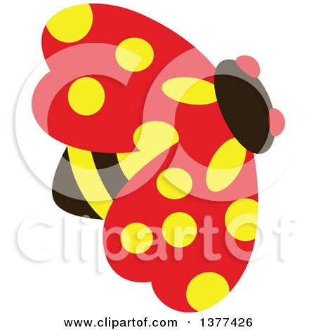 Clipart of a Yellow Spotted Ladybird - Royalty Free Vector Illustration by Cherie Reve