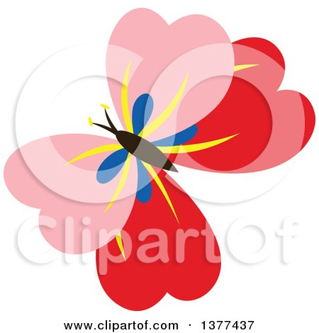Clipart of a Pink and Red Butterfly Flying - Royalty Free Vector Illustration by Cherie Reve