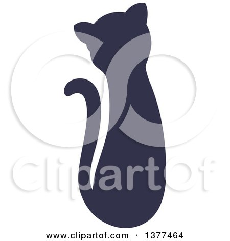 Clipart of a Navy Blue Silhouetted Sitting Cat - Royalty Free Vector Illustration by Cherie Reve
