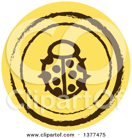 Clipart of a Distressed Round Yellow Ladybug Spring Time Icon - Royalty Free Vector Illustration by Cherie Reve
