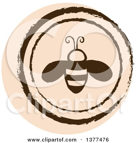 Clipart of a Distressed Round Tan Bee Spring Time Icon - Royalty Free Vector Illustration by Cherie Reve