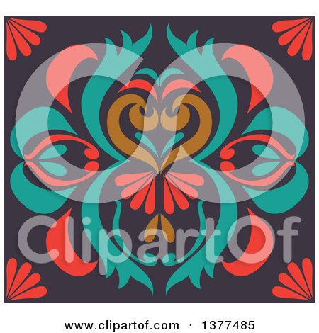 Clipart of a Colorful Floral Art Deco Background - Royalty Free Vector Illustration by Cherie Reve