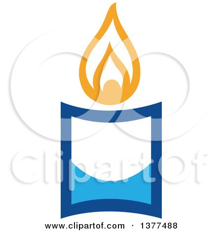 Clipart of a Lit Blue Hanukkah Candle - Royalty Free Vector Illustration by Cherie Reve