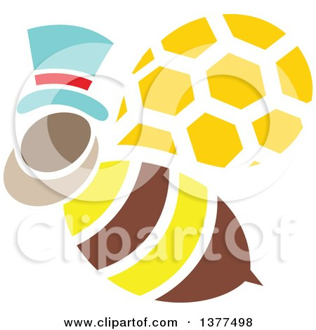 Clipart of a Male Bee Flying and Wearing a Hat - Royalty Free Vector Illustration by Cherie Reve