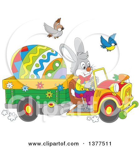 Clipart of a Gray Easter Bunny Rabbit Driving a Truck with a Giant Egg - Royalty Free Vector Illustration by Alex Bannykh