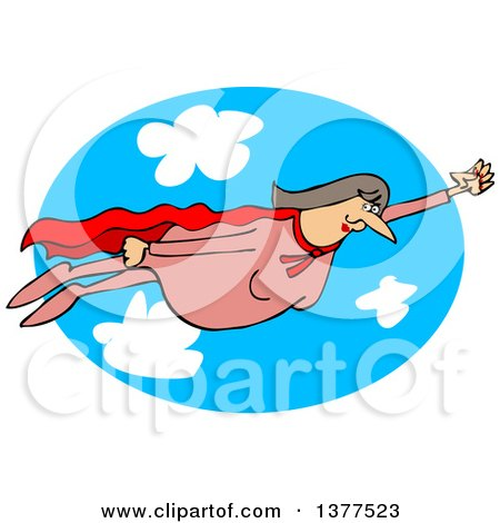 Clipart of a Chubby White Female Super Hero Flying Against a Sky Oval - Royalty Free Vector Illustration by djart