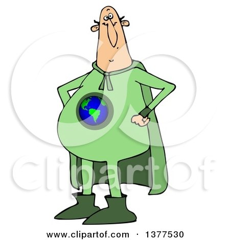 Clipart of a Chubby White Male Super Hero Standing with His Hands on His Hips, Wearing a Green Earth Suit - Royalty Free Vector Illustration by djart