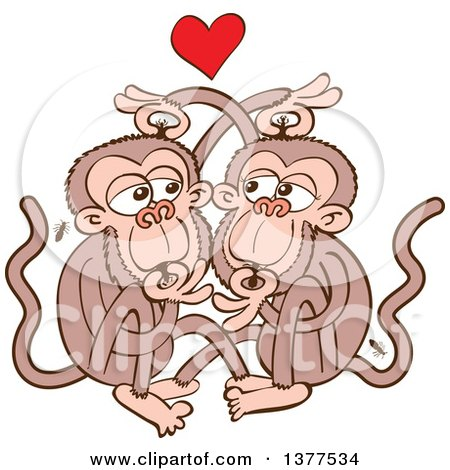 Clipart of a Monkey Couple Eating Lice and Falling in Love - Royalty Free Vector Illustration by Zooco