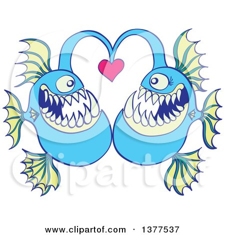 Clipart of a Pair of Abyssal Fishes in Love - Royalty Free Vector Illustration by Zooco