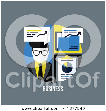 Clipart of a Flat Design Man with Charts and Business Text on Gray - Royalty Free Vector Illustration by elena