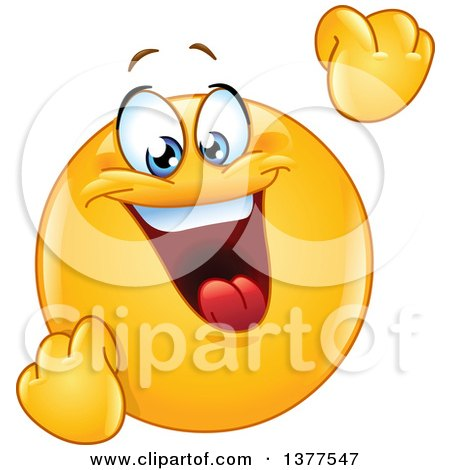 Clipart of a Celebrating and Cheering Happy Yellow Smiley Face Emoticon Emoji - Royalty Free Vector Illustration by yayayoyo
