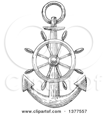 Clipart of a Black and White Sketched Anchor and Helm - Royalty Free Vector Illustration by Vector Tradition SM