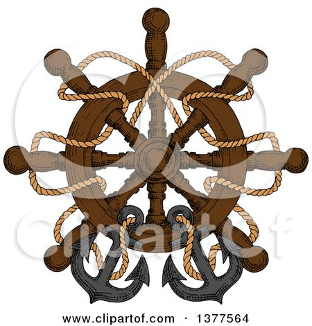 Clipart of a Sketched Ship Steering Helm with Ropes and Anchors - Royalty Free Vector Illustration by Vector Tradition SM