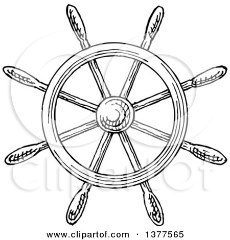 Clipart of a Black and White Ship Steering Helm - Royalty Free Vector Illustration by Vector Tradition SM
