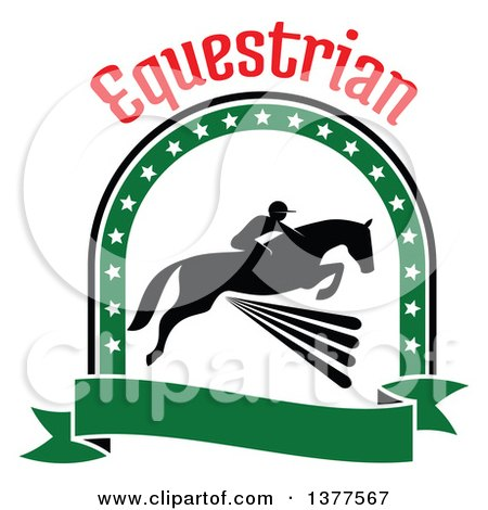 Clipart of a Black Silhouetted Rider on a Horse Laping over a Fence Inside a Green Star Arch and Banner Under Text - Royalty Free Vector Illustration by Vector Tradition SM