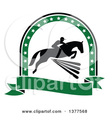 Clipart of a Black Silhouetted Rider on a Horse Laping over a Fence Inside a Green Star Arch and Banner - Royalty Free Vector Illustration by Vector Tradition SM