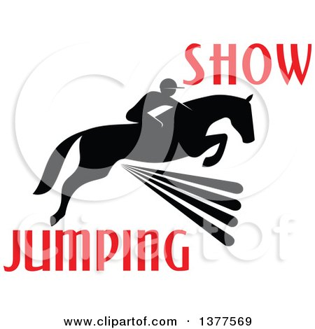 Clipart of a Black Silhouetted Rider on a Horse Leaping over a Fence with Red Text - Royalty Free Vector Illustration by Vector Tradition SM
