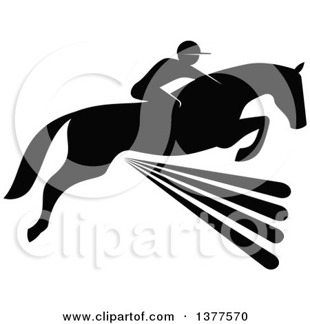 Clipart of a Black and White Silhouetted Rider on a Horse Laping over a Fence - Royalty Free Vector Illustration by Vector Tradition SM