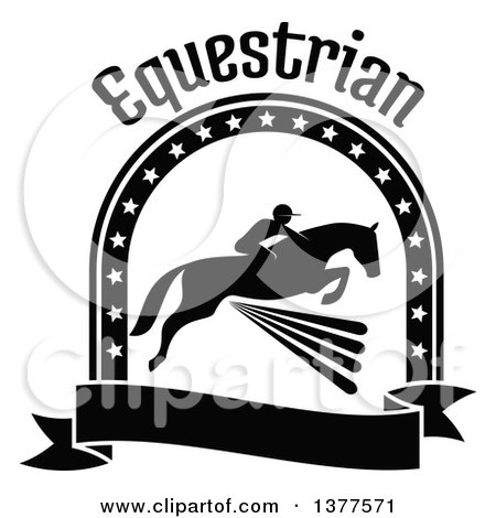 Clipart of a Black and White Silhouetted Rider on a Horse Laping over a Fence Inside a Star Arch and Banner Under Text - Royalty Free Vector Illustration by Vector Tradition SM