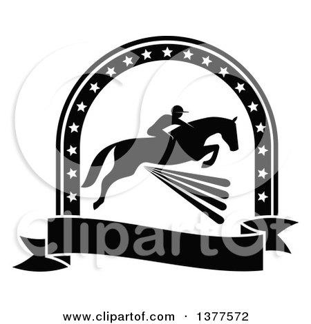 Clipart of a Black and White Silhouetted Rider on a Horse Laping over a Fence Inside a Star Arch and Banner - Royalty Free Vector Illustration by Vector Tradition SM