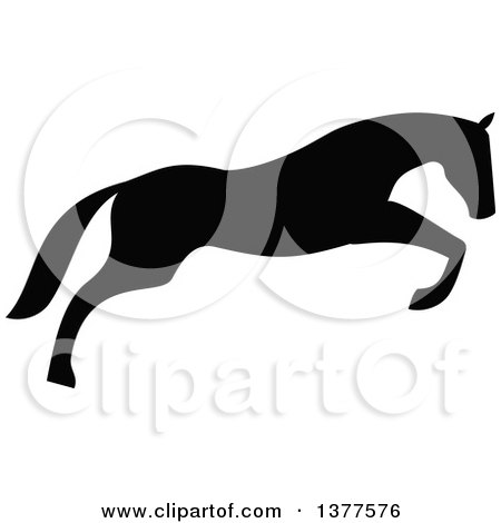 Clipart of a Black Silhouetted Horse Leaping - Royalty Free Vector Illustration by Vector Tradition SM