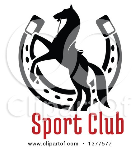 Clipart of a Black Silhouetted Saddled Horse Rearing over a Horseshoe and Text - Royalty Free Vector Illustration by Vector Tradition SM