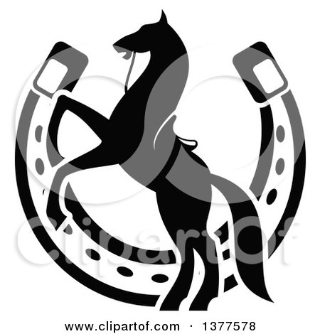 Clipart of a Black and White Silhouetted Saddled Horse Rearing over a Horseshoe - Royalty Free Vector Illustration by Vector Tradition SM