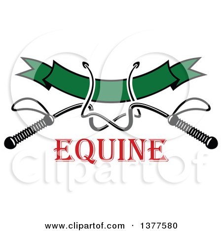 Clipart of Black and White Equestrian Riding Crop Whips over a Blank Green Banner over Red Text - Royalty Free Vector Illustration by Vector Tradition SM