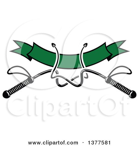 Clipart of Black and White Equestrian Riding Crop Whips over a Blank Green Banner - Royalty Free Vector Illustration by Vector Tradition SM