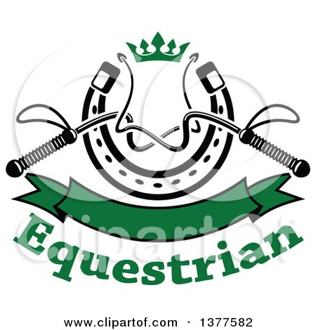 Clipart of Black and White Equestrian Riding Crop Whips over a Horseshoe with a Green Crown, Blank Banner and Text - Royalty Free Vector Illustration by Vector Tradition SM