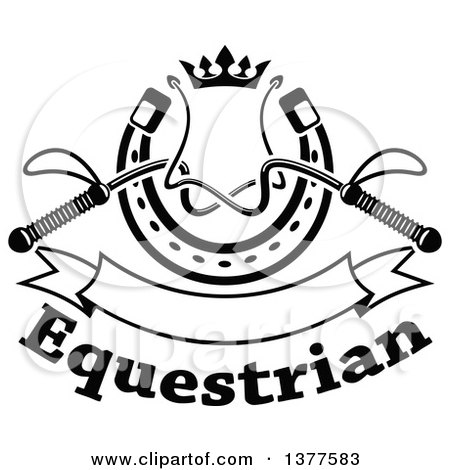 Clipart of Black and White Equestrian Riding Crop Whips over a Horseshoe with a Crown, Blank Banner and Text - Royalty Free Vector Illustration by Vector Tradition SM