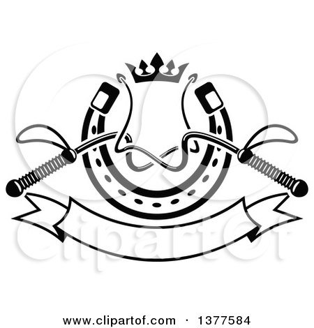 Clipart of Black and White Equestrian Riding Crop Whips over a Horseshoe with a Crown and Blank Banner - Royalty Free Vector Illustration by Vector Tradition SM