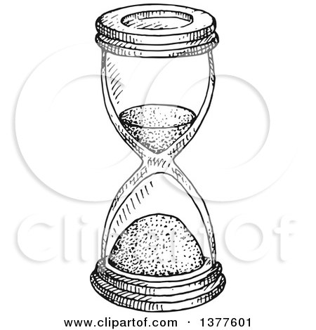 Clipart of a Black and White Sketched Hourglass - Royalty Free Vector Illustration by Vector Tradition SM