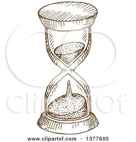 Clipart of a Brown Sketched Hourglass - Royalty Free Vector Illustration by Vector Tradition SM