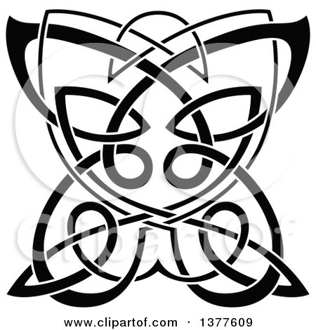 Clipart of a Black and White Celtic Knot Butterfly - Royalty Free Vector Illustration by Vector Tradition SM