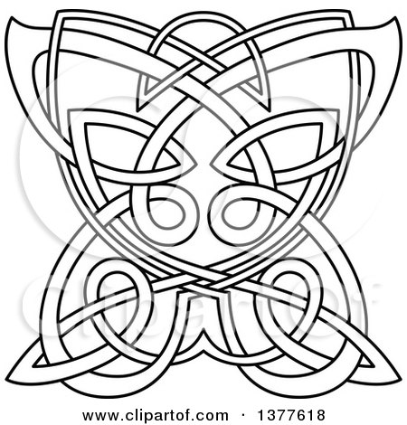 Clipart of a Black and White Lineart Celtic Knot Butterfly - Royalty Free Vector Illustration by Vector Tradition SM
