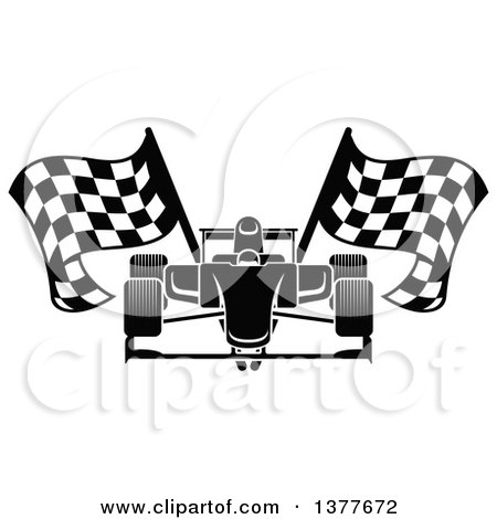 Clipart of a Black and White Race Car with Checkered Flags - Royalty Free Vector Illustration by Vector Tradition SM