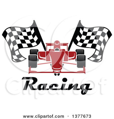 Clipart of a Red Race Car with Checkered Flags over Text - Royalty Free Vector Illustration by Vector Tradition SM