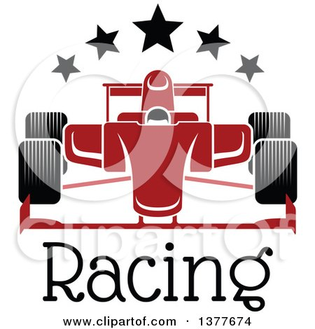 Clipart of a Red Race Car with Stars over Text - Royalty Free Vector Illustration by Vector Tradition SM
