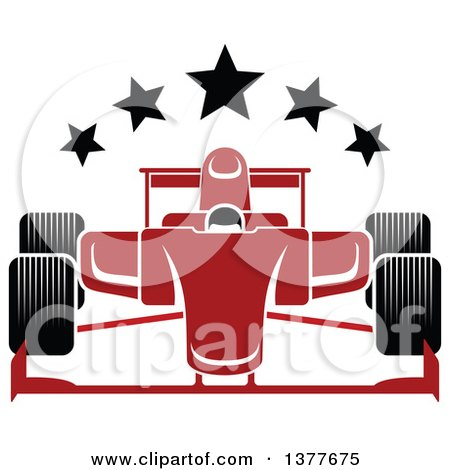 Clipart of a Red Race Car with Stars - Royalty Free Vector Illustration by Vector Tradition SM