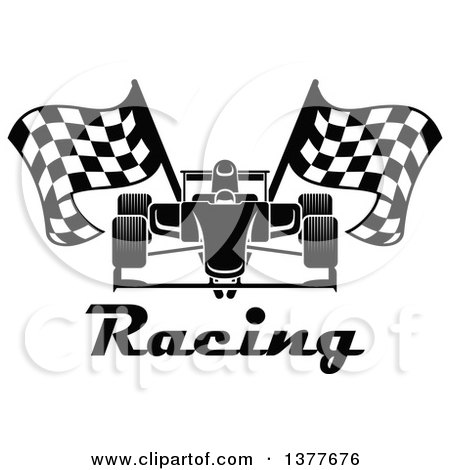 Clipart of a Black and White Race Car with Checkered Flags over Text - Royalty Free Vector Illustration by Vector Tradition SM
